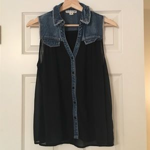 Black tank top with jean detailing